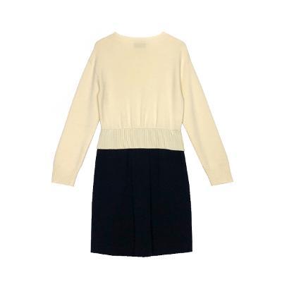color block dress white&black